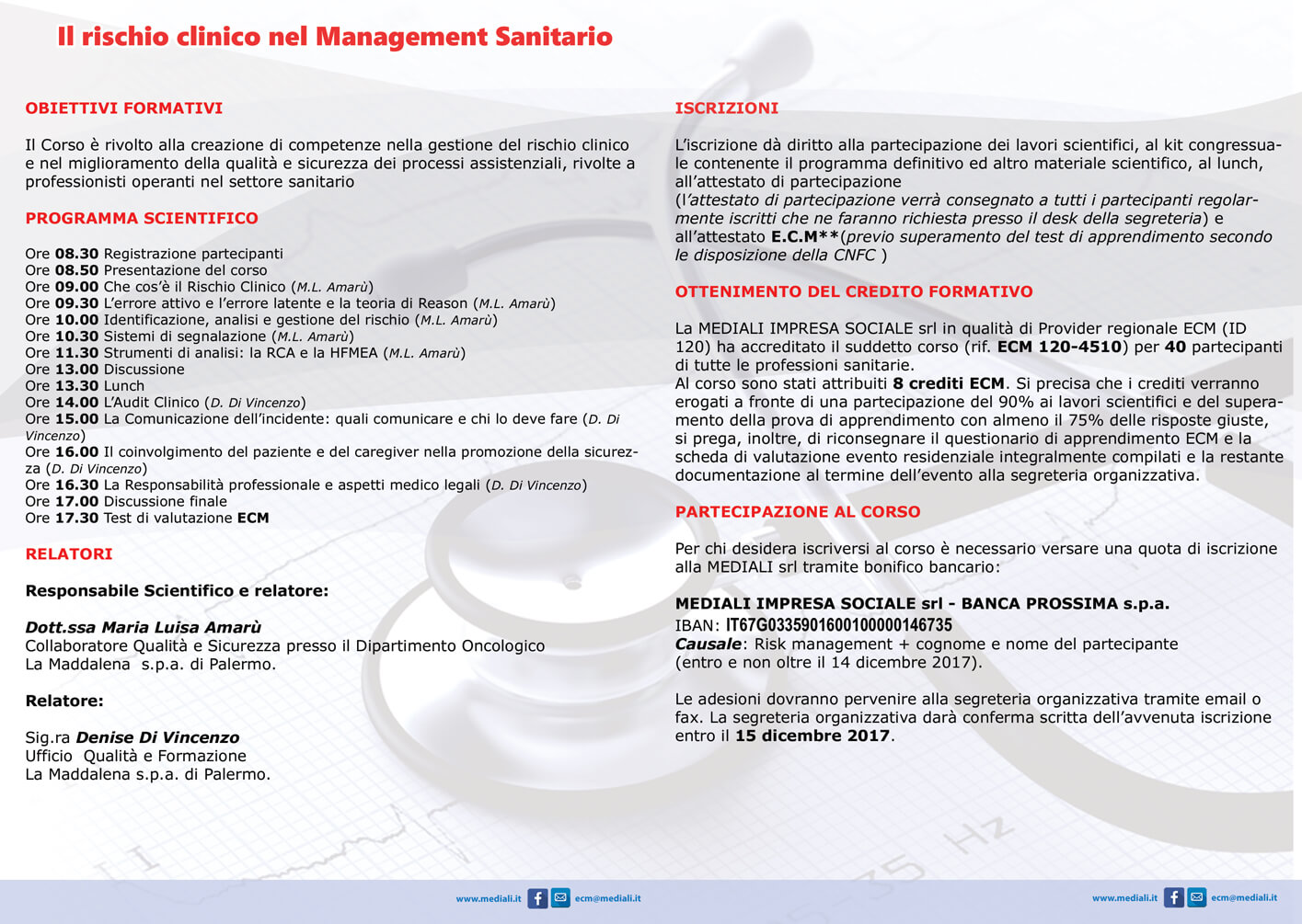 Brochure Il rischio clinico nel management Sanitario - Mediali.it