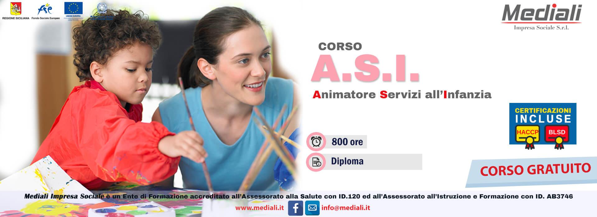 Corso ASI  Animatore Servizi all'Infanzia - gratuito Mediali 2018
