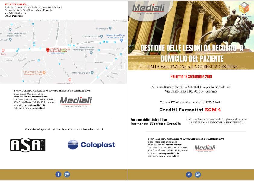 Ecm GESTIONE DELLE LESIONI DA DECUBITO A DOMICILIO DEL PAZIENTE Brochure front
