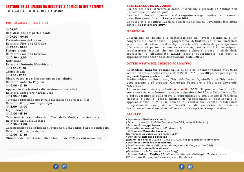 Ecm GESTIONE DELLE LESIONI DA DECUBITO A DOMICILIO DEL PAZIENTE Brochure retro